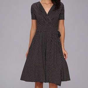 Unique Vintage Dotted Dolly Polka Dot Wrap Dress